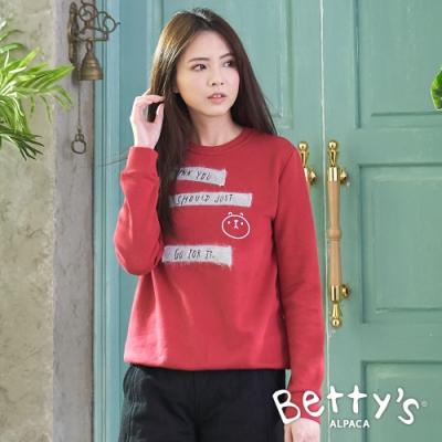 betty's貝蒂思 毛布繡線圓領大學T恤(紅色)