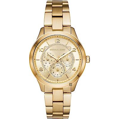 Michael Kors Runway 紐約時代日曆手錶-金/38mm