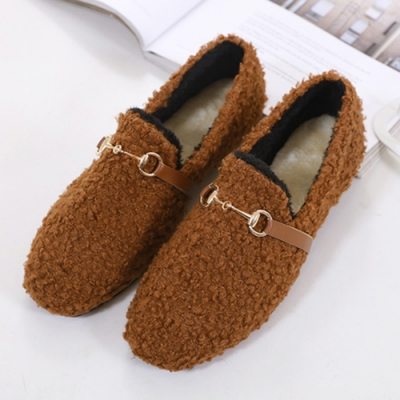 KEITH-WILL時尚鞋館 休閒紓壓溫暖平底鞋-棕色