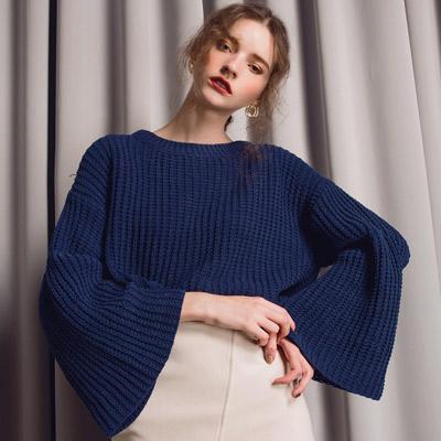 AIR-SPACE-LADY-質感喇叭袖針織毛衣