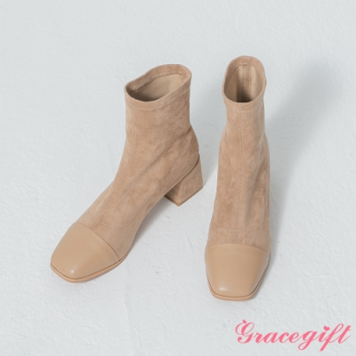 Grace gift-韓系方頭拼接絨布襪靴 杏