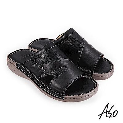 A.S.O 機能休閒 手縫氣墊雙面料拼接休閒男拖鞋-黑