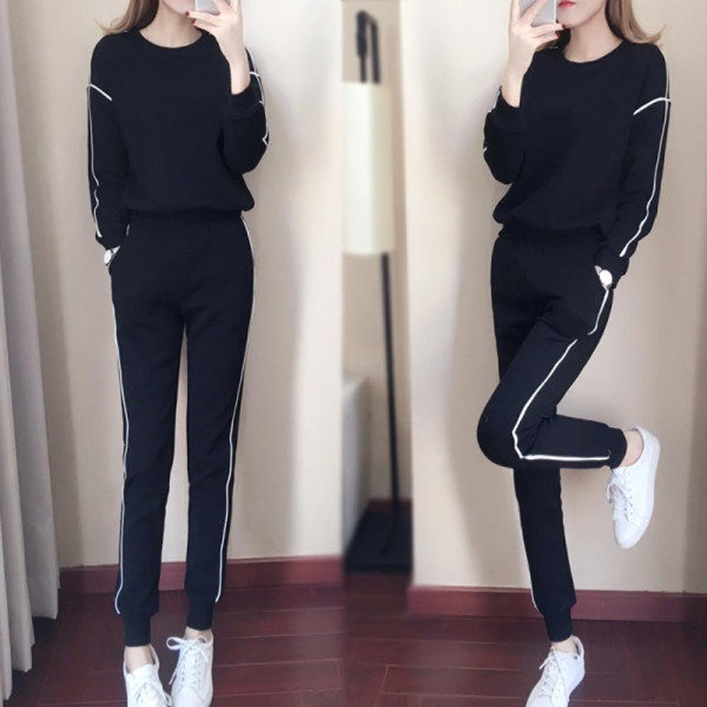 JILLI-KO 兩件套韓版寬鬆衛衣套裝- 黑/灰