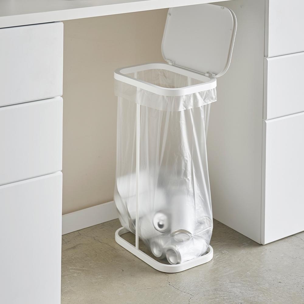 日本【YAMAZAKI】LUCE側開式垃圾袋架(白)★日本百年品牌★資源回收/掀蓋垃圾桶/廚房收納