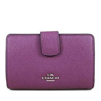 COACH 金馬車Logo鵝卵石紋全皮革壓扣雙折式窗型中夾(錦葵紫色)
