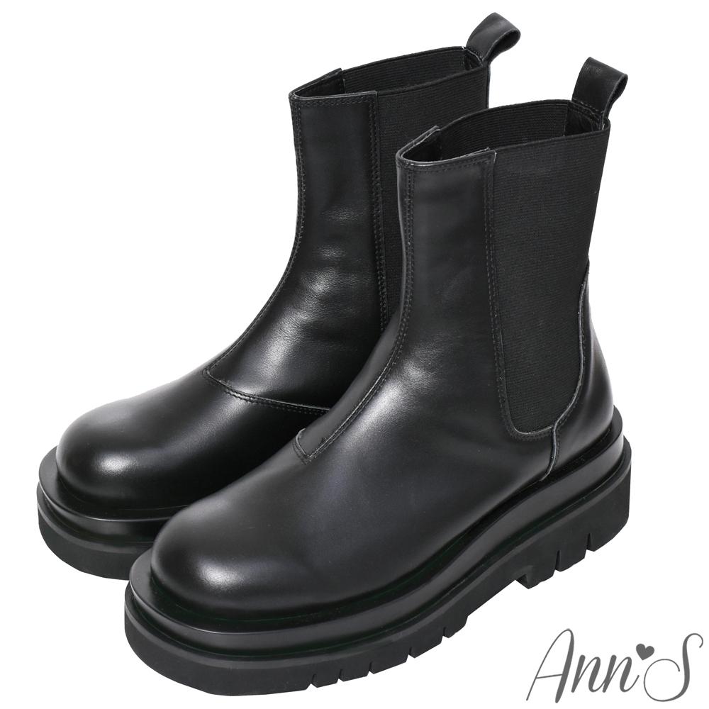 Ann'S就是比較瘦-頂級牛皮彈力鬆緊切爾西輕量厚底短靴-黑