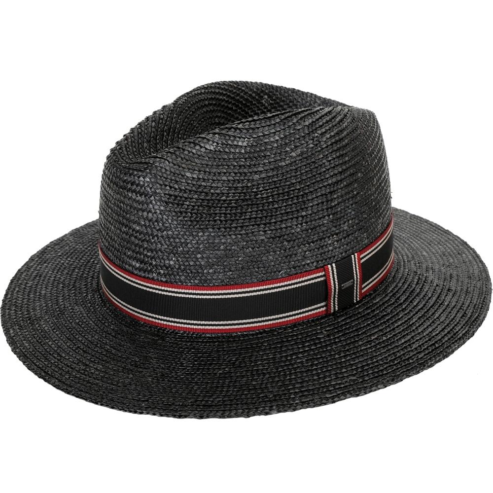 YSL Saint Laurent 條紋緞帶巴拿馬草編寬簷紳士帽(黑色)