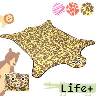 Life Plus 動物叢林 造型野餐墊/遊戲墊_加大款 (褐色_豹紋)