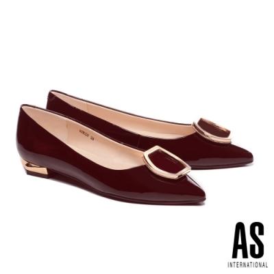 低跟鞋 AS 金屬流線六角釦飾全真皮尖頭低跟鞋-紅