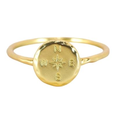 Pura Vida 美國手工 指南針造型金色戒指