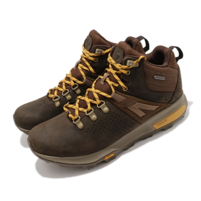 Merrell 戶外鞋 ZionPeak Waterproof 男鞋 登山 越野 耐磨 黃金大底 中筒 避震 棕 黃 ML035363
