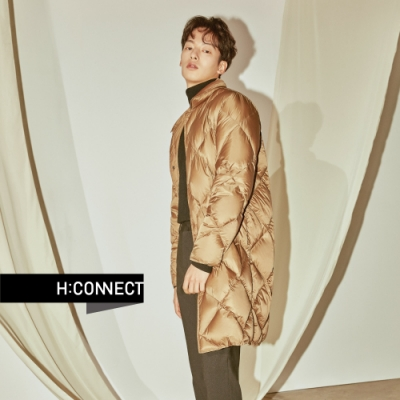 H:CONNECT 韓國品牌 男裝 - 素面長版羽絨外套  - 卡其