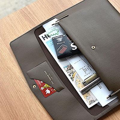 PLEPIC 職人皮革手拿文件包-法式棕