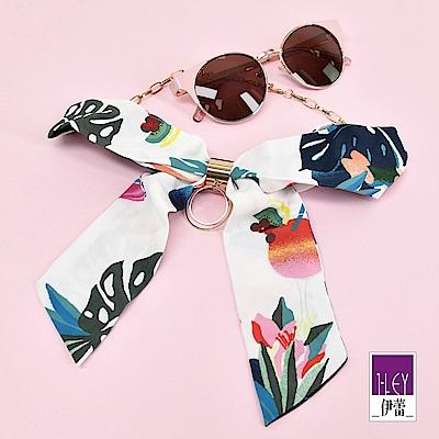 ILEY伊蕾 絲巾印花金屬造型蝴蝶結領巾(藍)