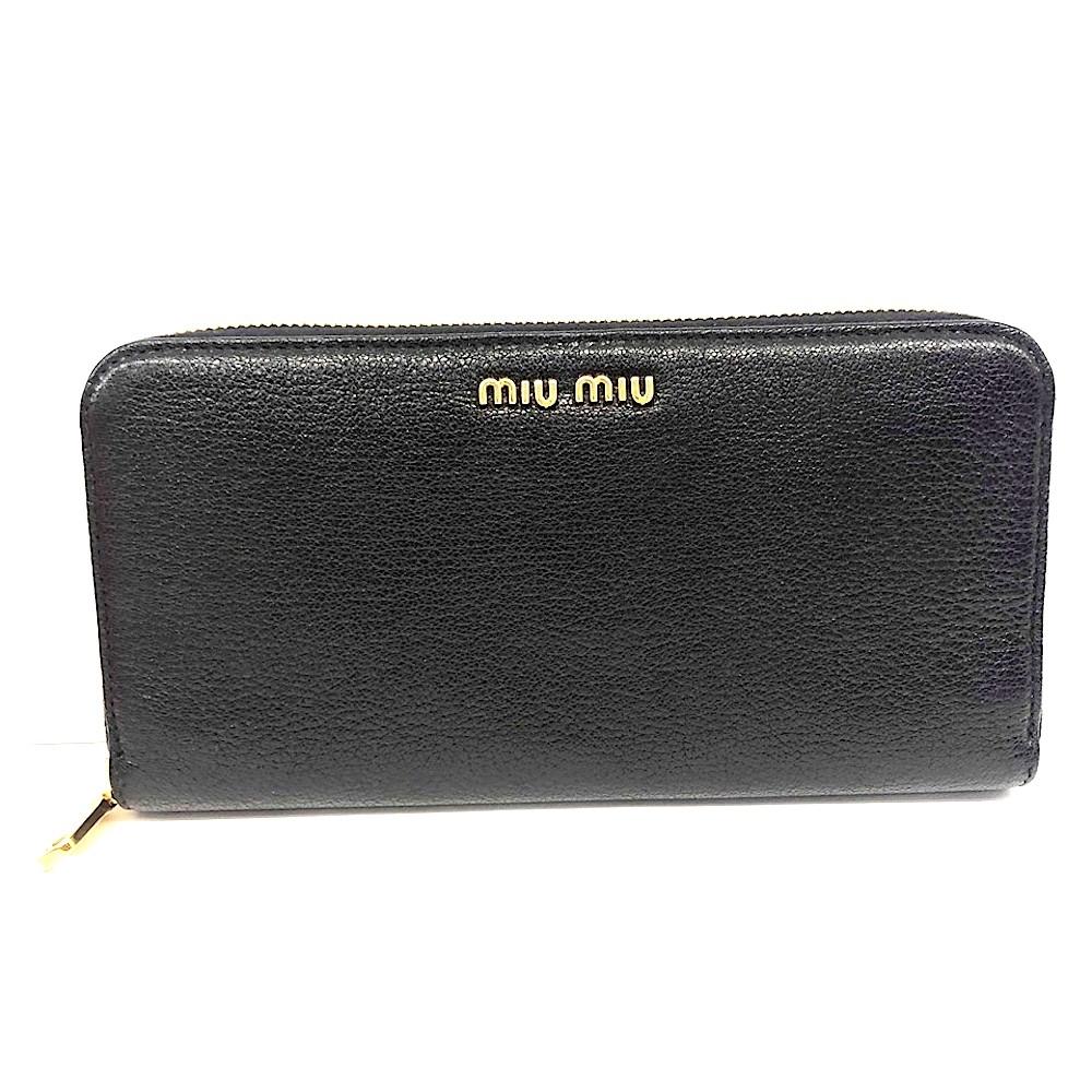 MIUMIU Madras 荔枝紋牛皮革拉鍊長夾(黑色)
