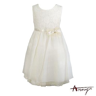 Annys氣質舒適蕾絲緞帶蝴蝶結綁帶網紗禮服*7211米白