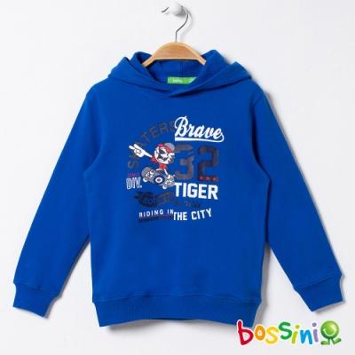 bossini男童-圖案連帽厚棉T恤01藍