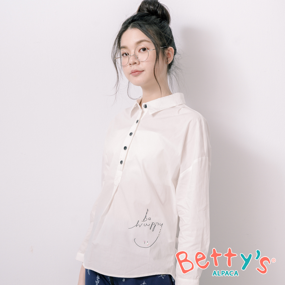 betty's貝蒂思 簡約be happy半開襟襯衫(白色)