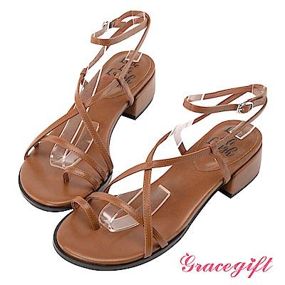 Grace gift X Kerina-聯名羅馬交叉細帶低跟涼鞋 棕