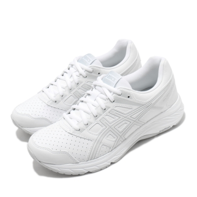 Asics 慢跑鞋 Gel Contend 5 SL 女鞋 亞瑟士 寬楦 皮革鞋面 耐磨 亞瑟膠 白 灰 1132A043100