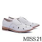 跟鞋 MISS 21 紳士品味雕花電繡設計全真皮牛津低跟鞋-白
