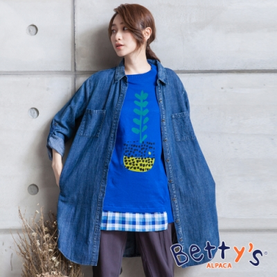 betty's貝蒂思 開襟長版牛仔襯衫(牛仔藍)