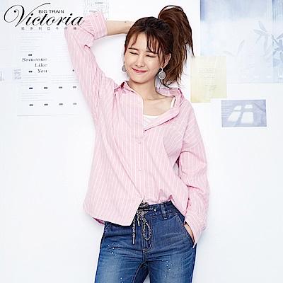 Victoria Boyfriend 風格寬鬆襯衫-女-粉色