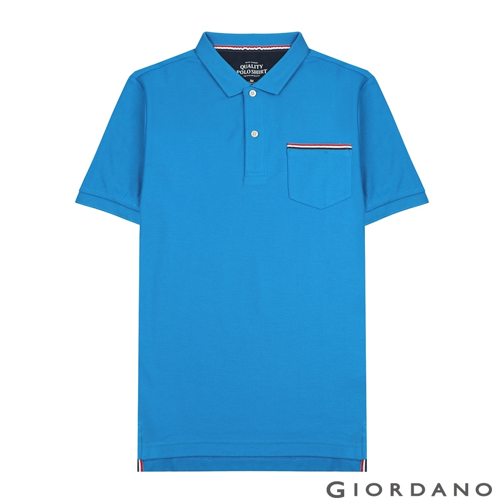 GIORDANO 男裝素色織帶口袋POLO衫-04 景泰藍