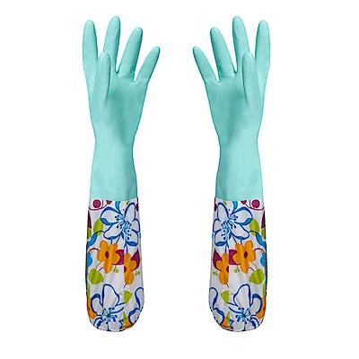 EZlife洗碗洗衣護手加絨手套3入組(贈粉彩瀝水架)
