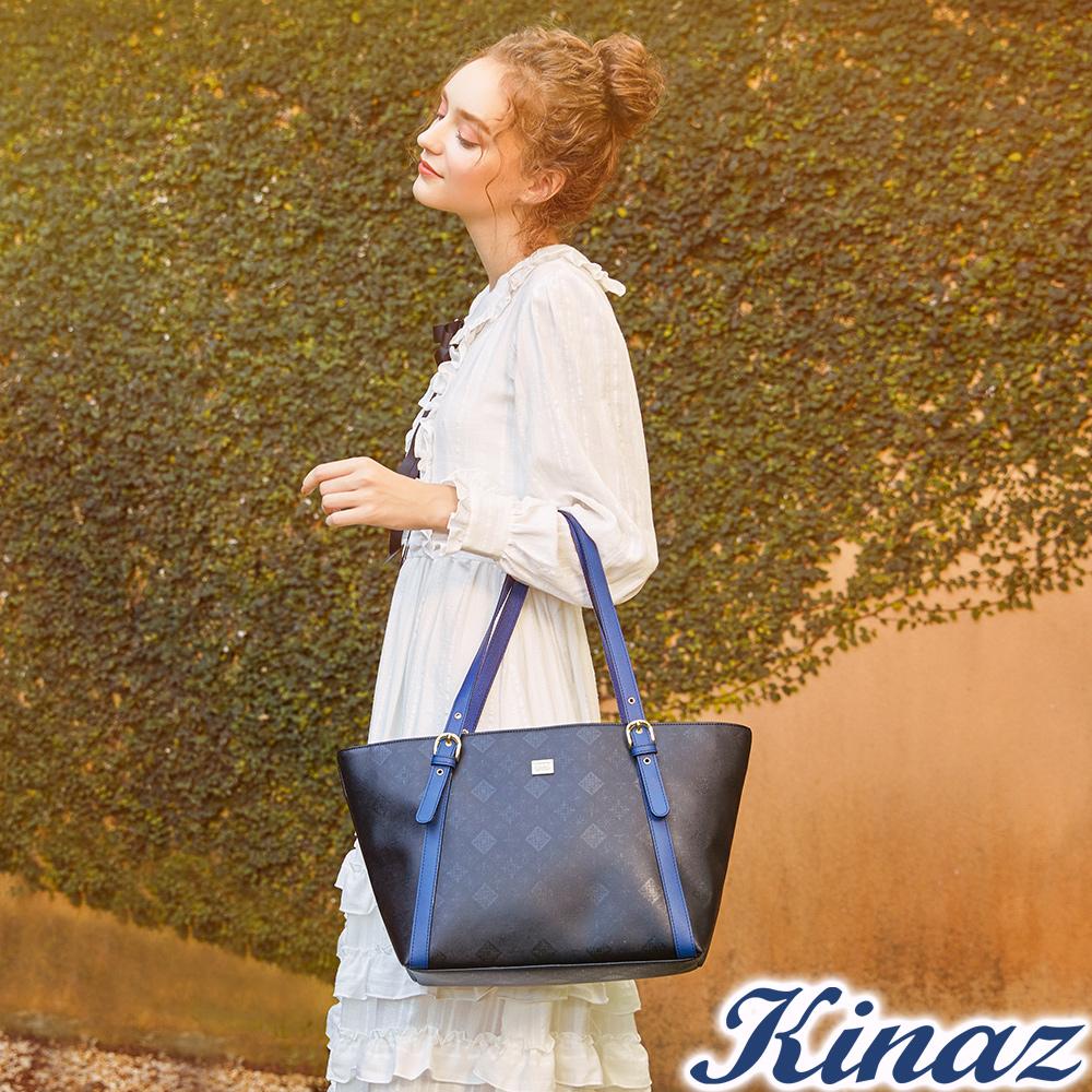 KINAZ 時尚寵兒托特包-煙燻深藍-模特兒系列