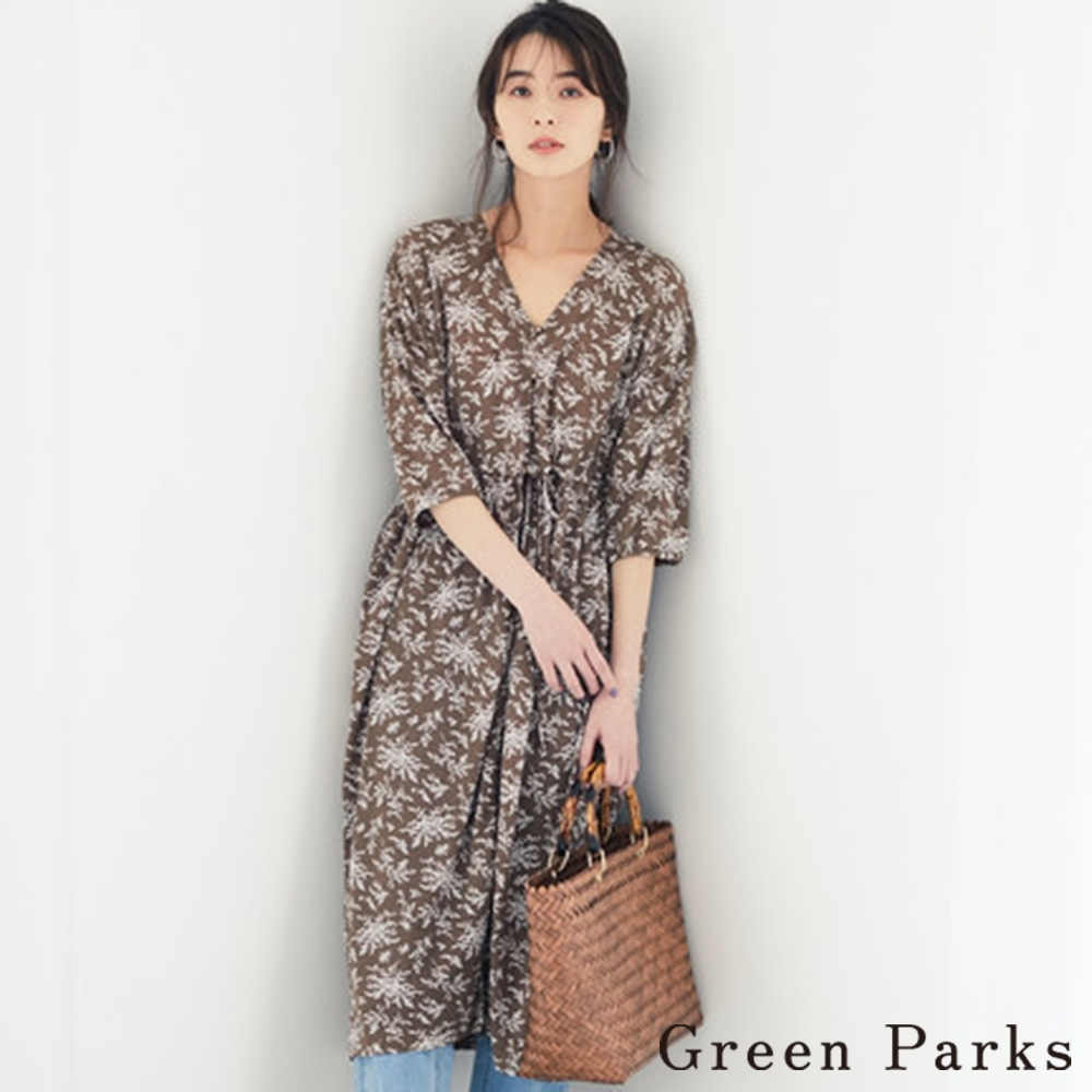 Green Parks 前扣綁帶花卉連身洋裝
