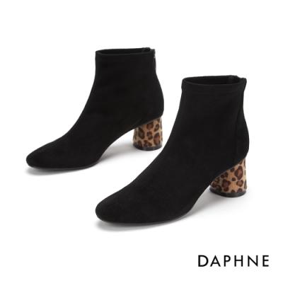 達芙妮DAPHNE  踝靴-豹紋粗跟尖頭高跟踝靴-黑