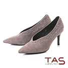 TAS華麗水鑽羊麂皮V口尖頭高跟鞋-冬季灰