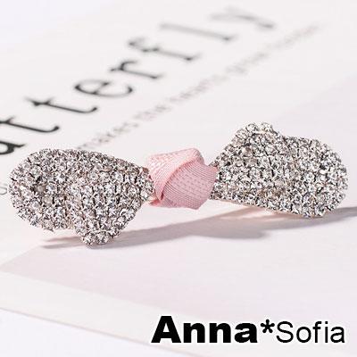 AnnaSofia 滿鑽圓弧葉蕊結 純手工小髮夾邊夾(粉結-淡金系)
