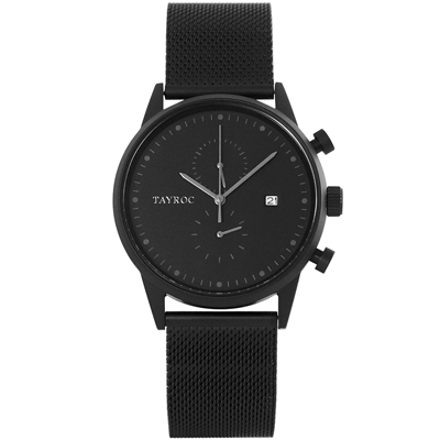 TAYROC英式簡約時尚米蘭帶計時手錶-鐵灰/43mm