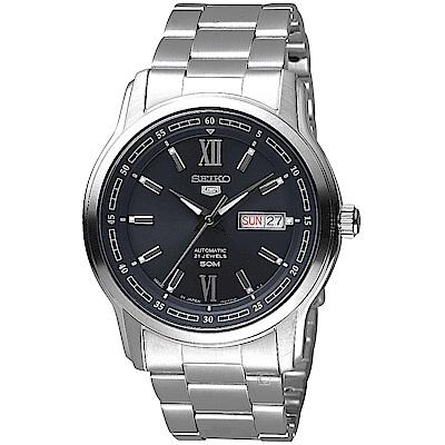 SEIKO 精工 5號21石盾牌羅馬機械腕錶(SNKP17J1)-銀X黑