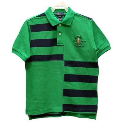 Ralph Lauren 童裝刺繡彩馬拼接條紋短袖POLO衫-綠色(7歲)