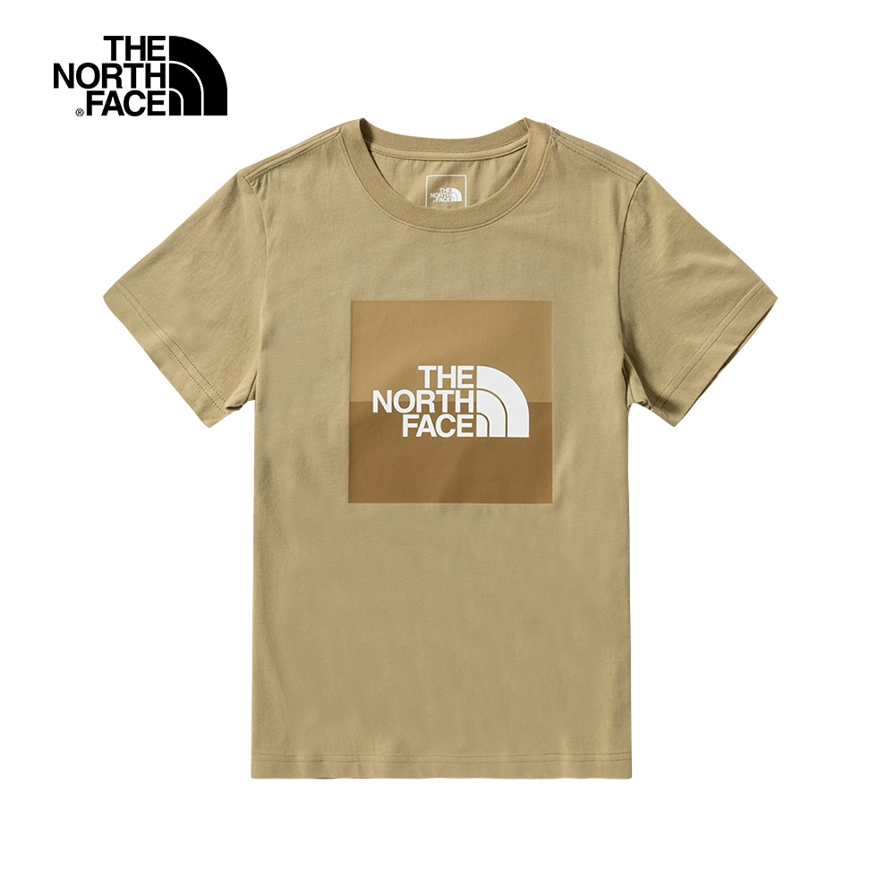 The North Face北面女款卡其色LOGO印花短袖T恤|4NFUH7E