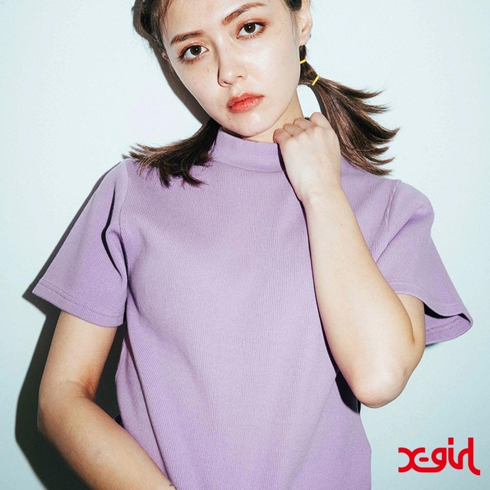X-girl BOTTLENECK S/S TOP短袖T恤-亮紫