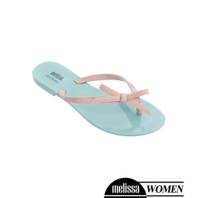 Melissa JASON WU聯名款 蝴蝶結質感撞色涼拖鞋-藍