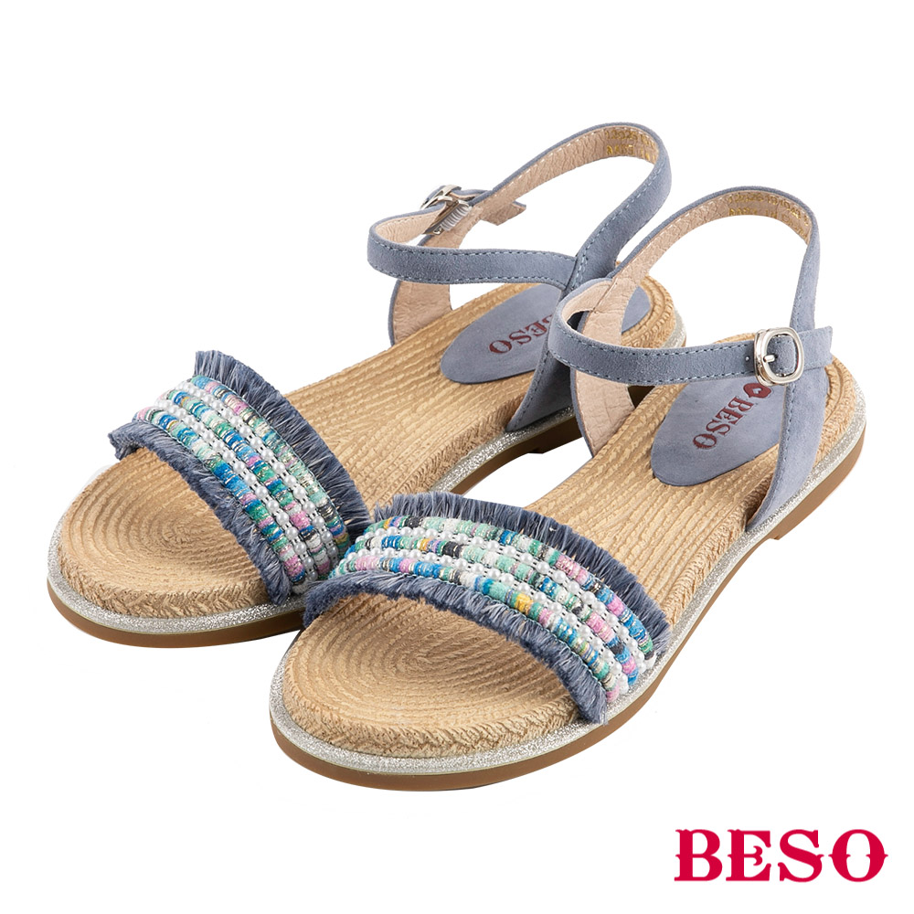 BESO 波希圖騰 流蘇繫帶涼鞋~藍