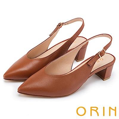 ORIN 俐落優雅 素面羊皮繫帶尖頭粗中跟鞋-棕色