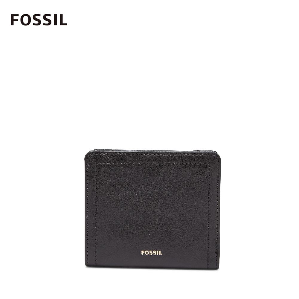 FOSSIL LOGAN 真皮系列拉鍊零錢袋設計短夾-黑色 SL7829001