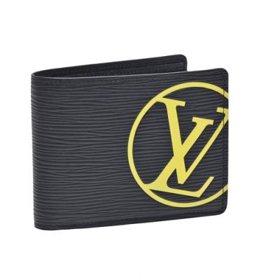 LV M67907經典MULTIPLE EPI皮革交叉式卡夾短夾(黑)