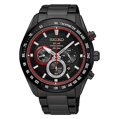 SEIKO 精工Criteria 太陽能 競速賽車三眼計時運動錶-黑紅/43.6mm/SS