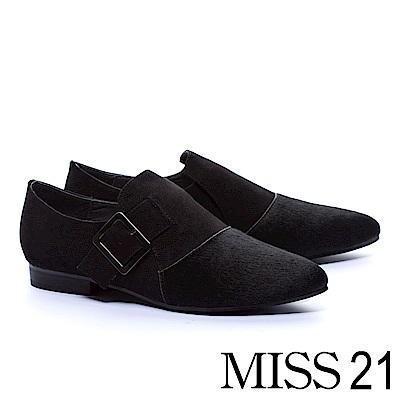 低跟鞋 MISS 21 中性魅力異材質拼接設計尖頭低跟鞋-黑