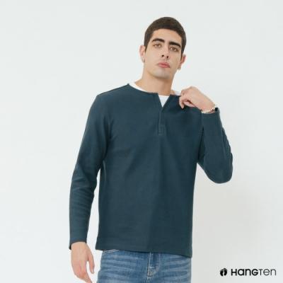 Hang Ten - 男裝 - 假兩件小開襟長袖上衣 - 藍