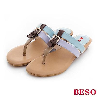 極簡風格 糖果色系輕量舒適涼鞋~淺藍色