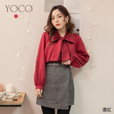 東京著衣-YOCO 珠光寶氣蕾絲滾邊領結珍珠釦上衣