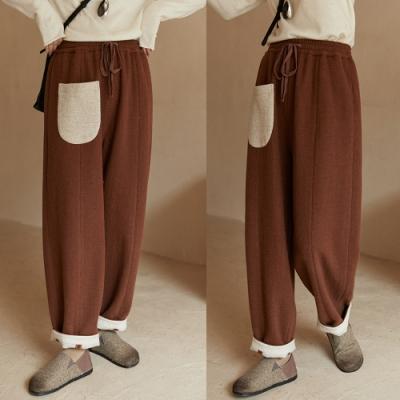 雙層雙面羊毛呢加厚直筒休閒褲寬鬆-設計所在